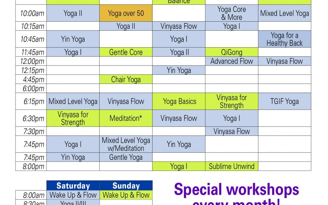 What's New with the Winter Yoga Schedule?